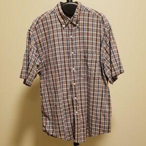 Eddie Bauer Plaid Short Sleeve Shirt Mens Medium M